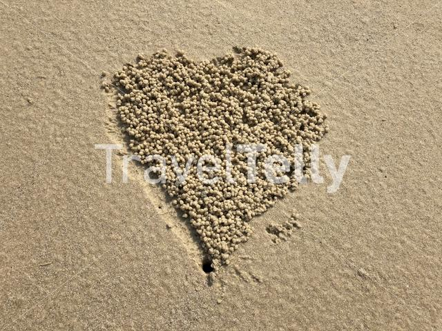 Heart shape in the sand of a beach on Koh Samet island in Thailand