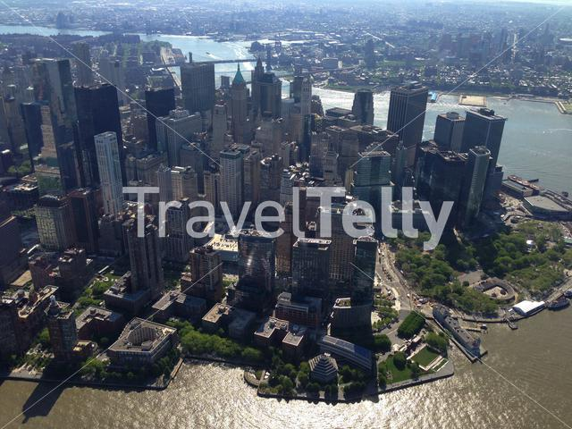 View from a helicopter from Lower Manhattan, New York City
