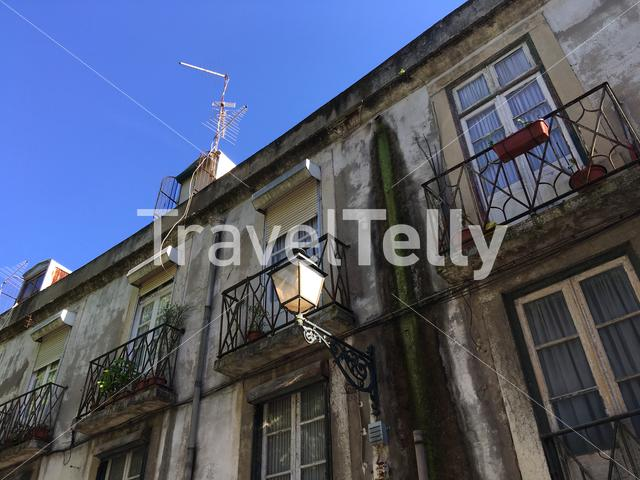 Old houses in the historical center of Lisbon Portugal