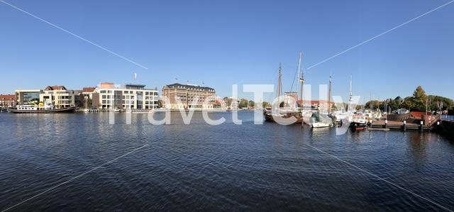 Panorama from the old inland port in Emden, Germany