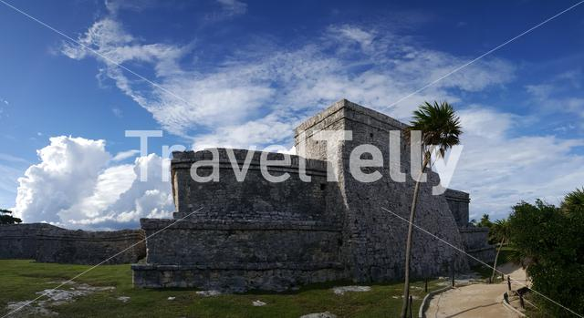 Panorama from Ancient Mayan fortress in Tulum Yucatan, Mexico