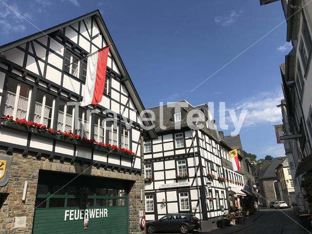 Street with timberframe houses in Monschau Germany
