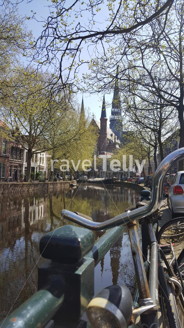 Waterfront scene at Gouda city, Netherlands