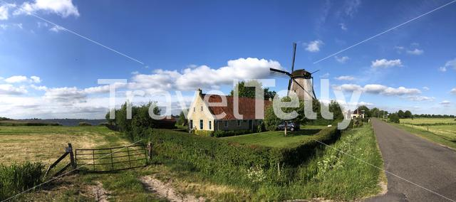 Panorama from Langweerder windmill in Friesland The Netherlands
