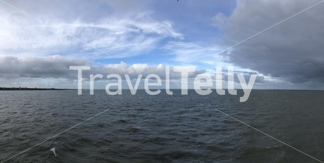 Panorama from the Wadden Sea in The Netherlands