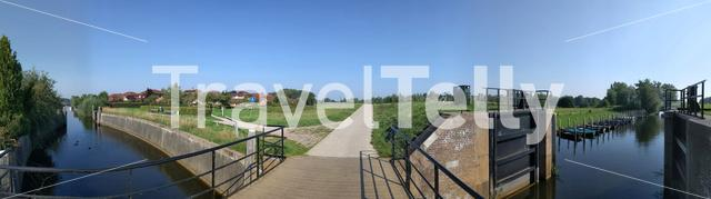 Panoramic view from a river lock at the Vechte in Overijssel, The Netherlands