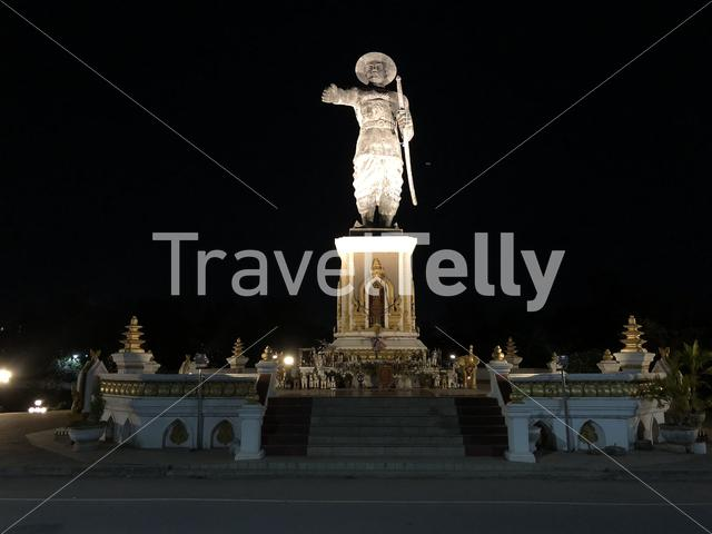 The Chao Anouvong Statue at night in Vientiane Laos
