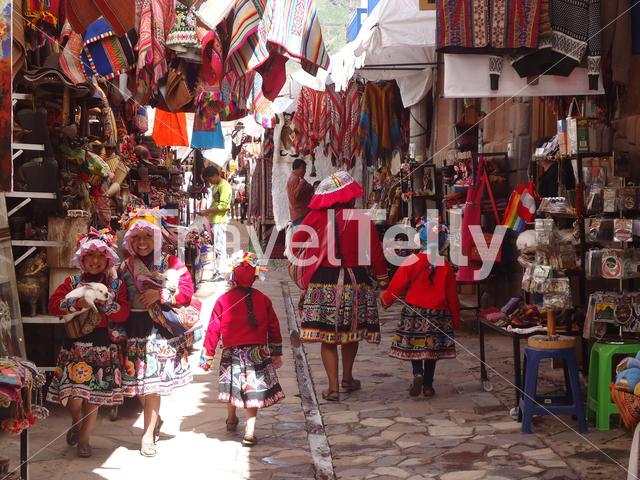 Traditional Costumes in Pisac Market, Sacred Valley