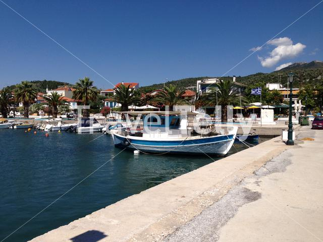 Traditional fishing boat in the harbour of Skala Kallirachis in Thassos Greece