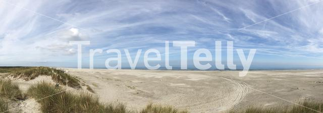 Panorama from the beach on Ameland island in Friesland The Netherlands