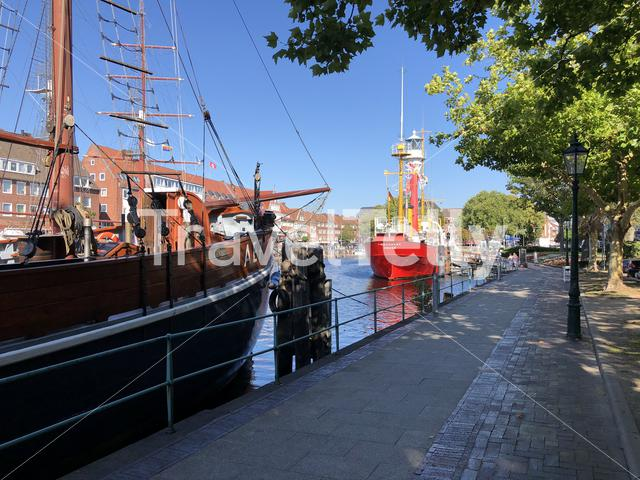 Boat museums in the dock of Emden