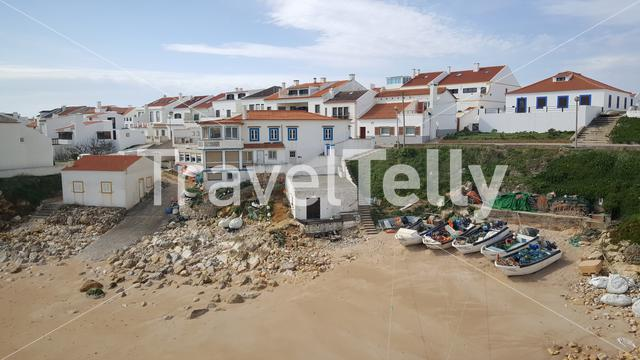 Fishing boats on the beach of the village of Baleal in Portugal
