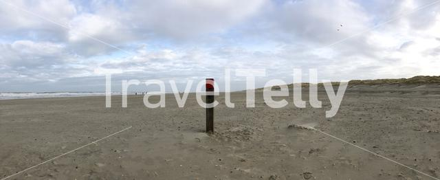 Panorama from Texel beach in The Netherlands