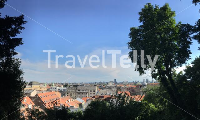 Panorama from the old town city overview of Zagreb Croatia