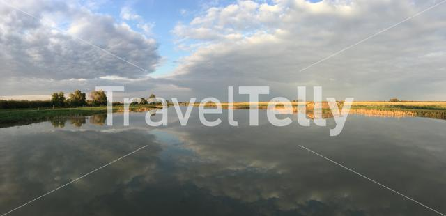 Panorama from a lake at Hortobagy National Park in Hungary