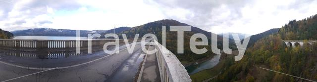 Panorama from the Bicaz Dam in Romania