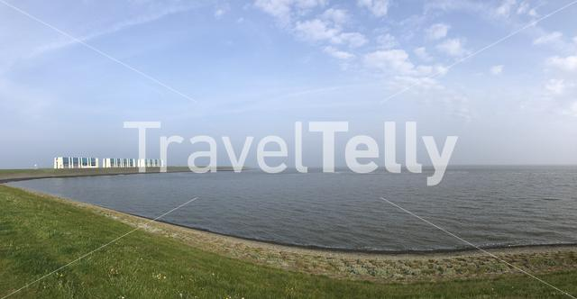 Panorama from Lauwersoog coast in The Netherlands