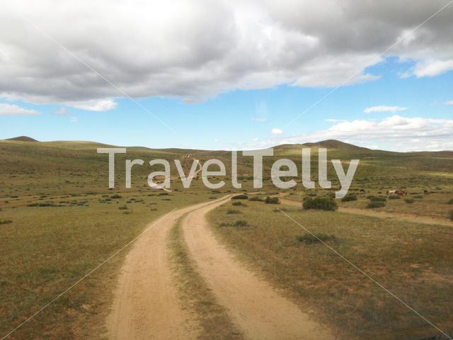 Road through the countryside of Mongolia