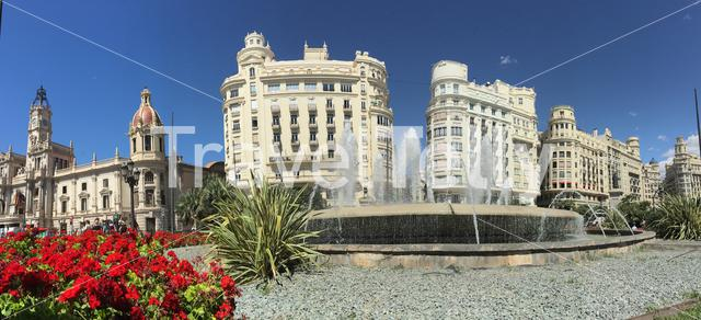 Panorama from the Ayuntamiento De Valencia in Valencia Spain