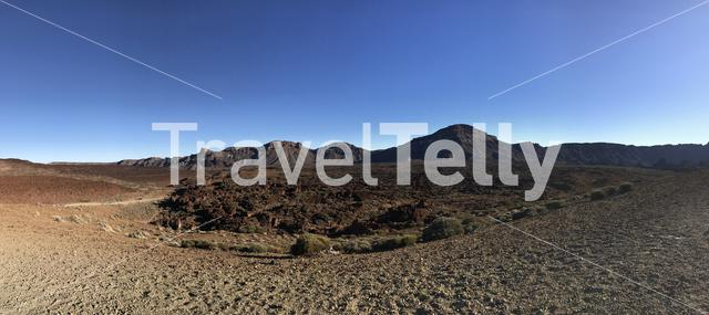 Panorama from the landscape around Mount Teide a volcano on Tenerife in the Canary Islands