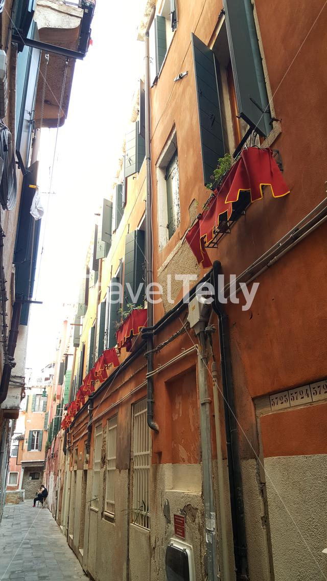 Houses in small alley in Venice, Italy