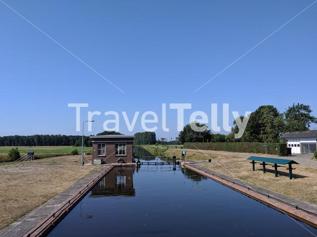Canal lock in Friesland, The Netherlands
