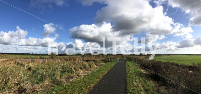 Panoramic from a bicycle path through a nature reserve around Wolvega in Friesland, The Netherlands