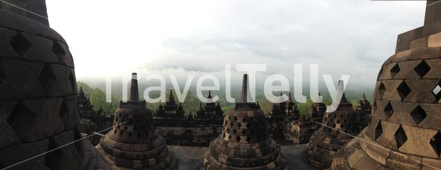 Panorama from the Borobudur Temple a 9th-century Mahayana Buddhist temple in Magelang, Central Java, Indonesia
