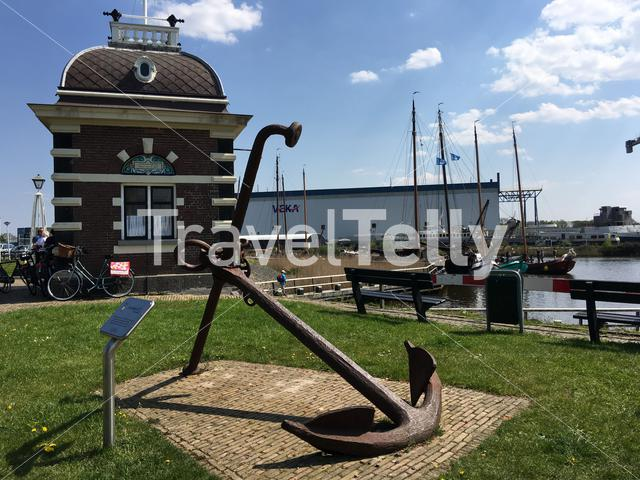 Anchor monument next to the sluice in Lemmer, Friesland The Netherlands