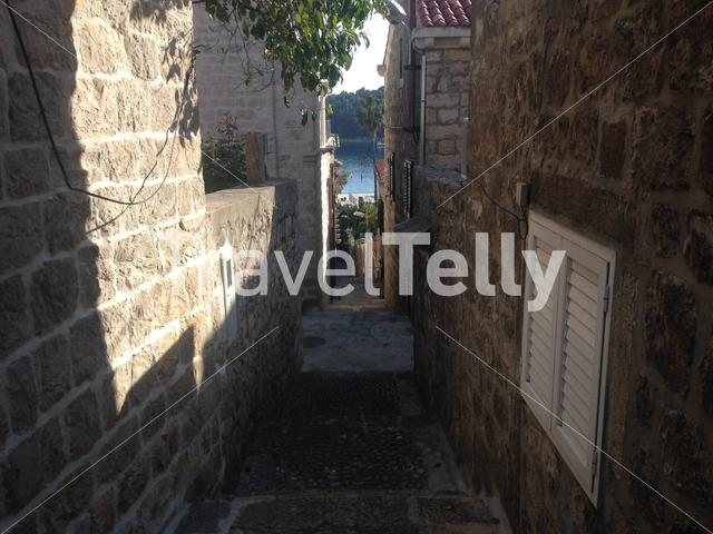 Small alley with old houses in the village Cavtat Croatia