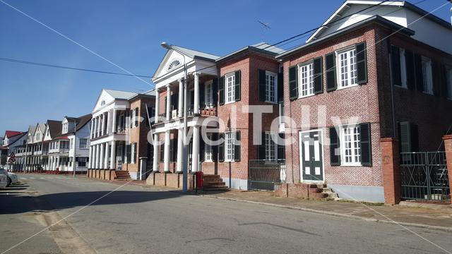 Houses downtown in a street in Paramaribo Suriname