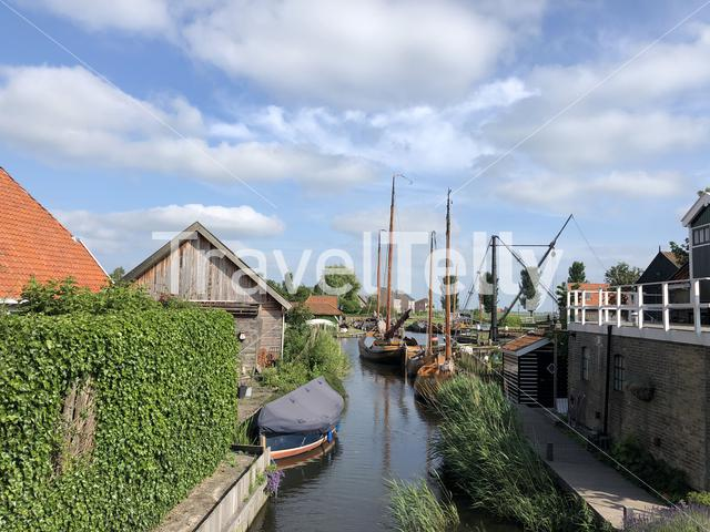 Canal in Workum in Friesland The Netherlands