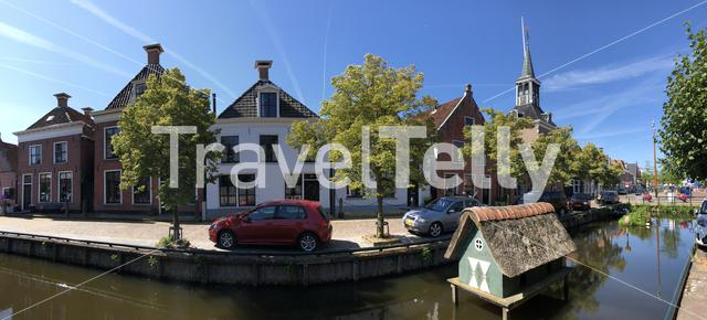 Panorama from a canal old town of Makkum, Friesland, The Netherlands