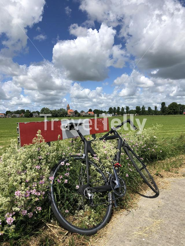 Race bicycle around Easterwierrum in Friesland The Netherlands