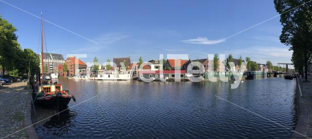 Panorama from the canal around Leeuwarden, Friesland The Netherlands