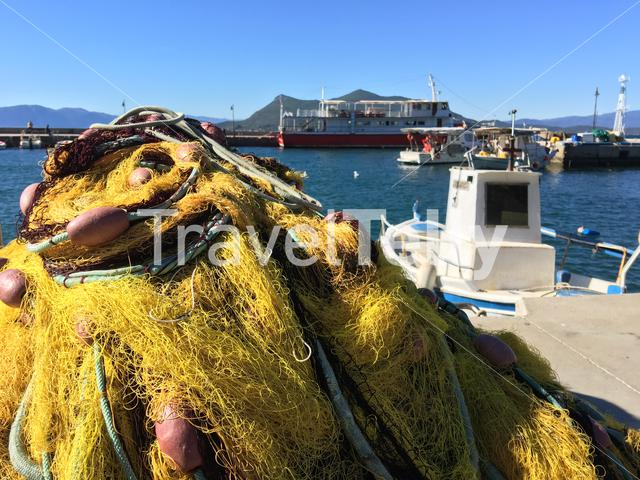 Fishing nets in the harbour of Loutra Edipsou in Greece