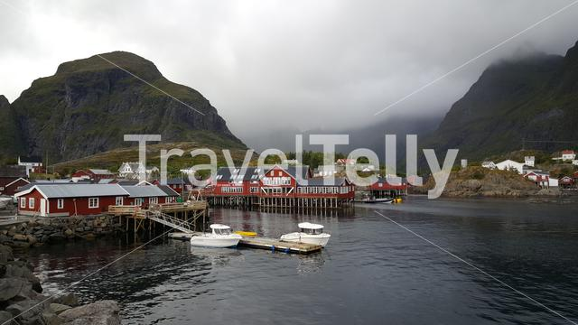 Red stilt houses in the village A in Norway