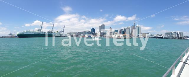 Panorama Auckland Skyline from the ferry from Devonport
