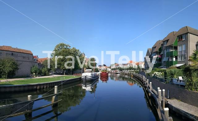 City canal panorama of Zwolle, Overijssel The Netherlands