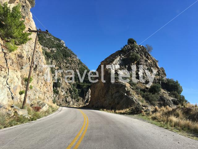 Driving towards Rovies in Greece