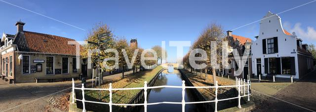 Panorama from the city Sloten during autumn in Friesland, The Netherlands