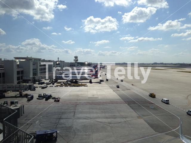Miami Airport with American Airlines airplanes in the United States of America