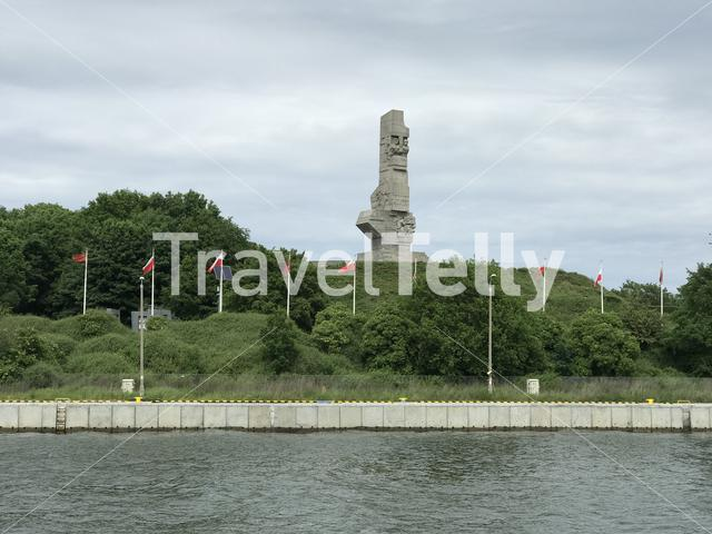 Grand stone monument at the Westerplatte in Gdansk Poland
