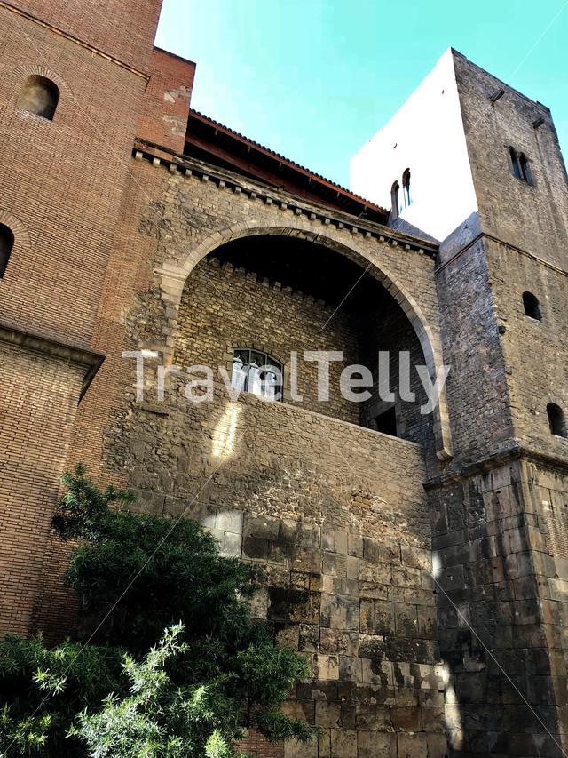 Roman Wall and defense tower, Barcelona, Spain
