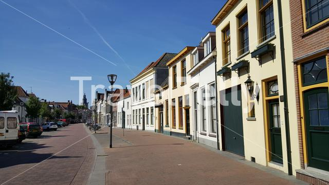 Houses and the Laarstraat in Zutphen The Netherlands