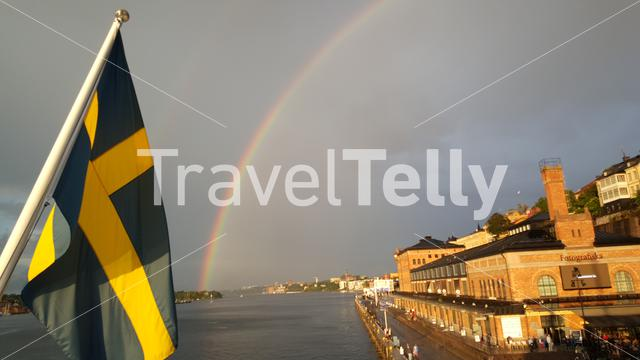 Rainbow and swedish flag at the Stockholm photography museum in Sweden