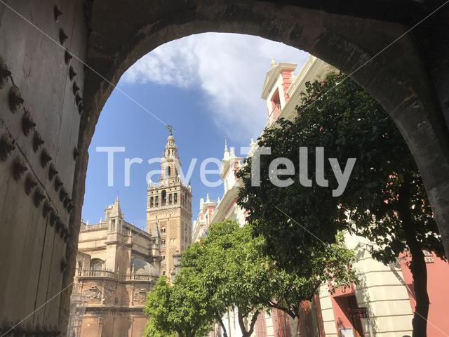 The Giralda (bell tower) of the Seville Cathedral in Seville Spain
