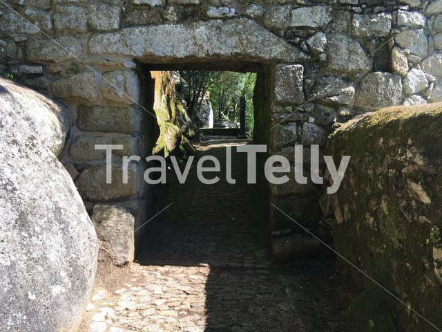 Gate towards the Castelo dos Mouros in Sintra Portugal