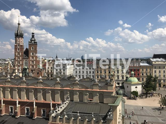 Krakow main square seen from the Town Hall Tower in Poland
