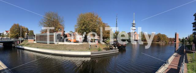 Panorama from the canal around the old town of Emden Germany